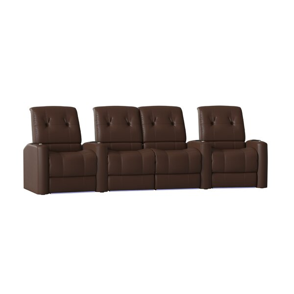Large Blue LED Home Theater Curved Row Seating (Row Of 4) By Latitude Run