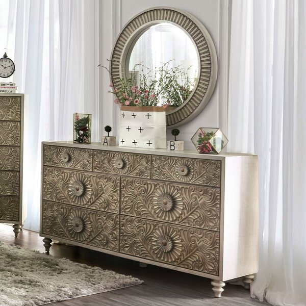 Massar 7 Drawer Dresser with Mirror by Bungalow Rose