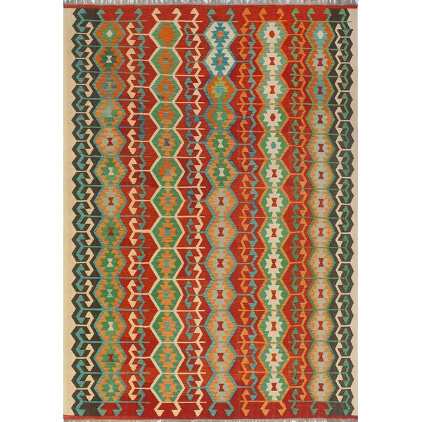 Corda Hand-Knotted Wool Red/Green Area Rug by Bungalow Rose