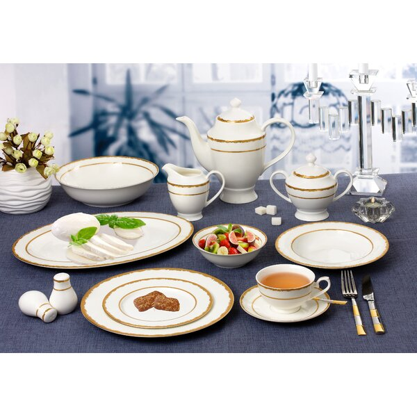 La Luna 55 Piece New Bone China Dinnerware Set Service for 8