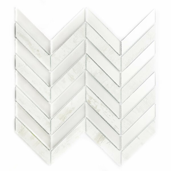 Musico Birchwood Herringbone 1.4 x 3.25 Glass Mosaic Tile in White/Gray by Abolos