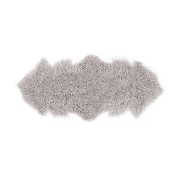 Rockwall Faux Sheepskin Sage Gray Area Rug by Luxe