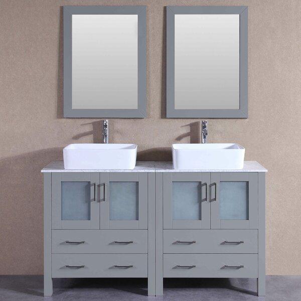 Tiffany 59 Double Bathroom Vanity Set with Mirror by Bosconi
