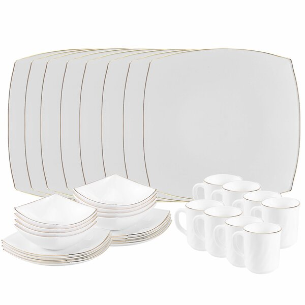 Platinum Opal 32 Piece Glass Dinnerware Set, Service for 8 by Matashi Crystal