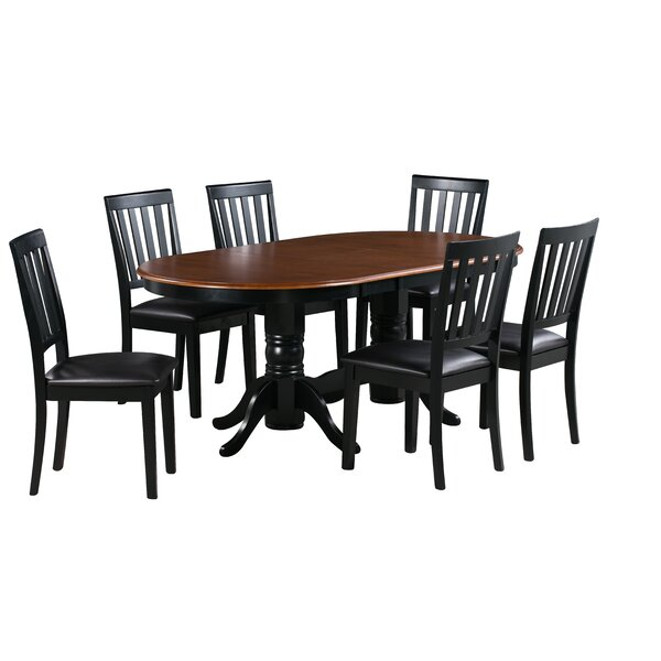 Jessie 7 Piece Extendable Solid Wood Dining Set by Alcott Hill
