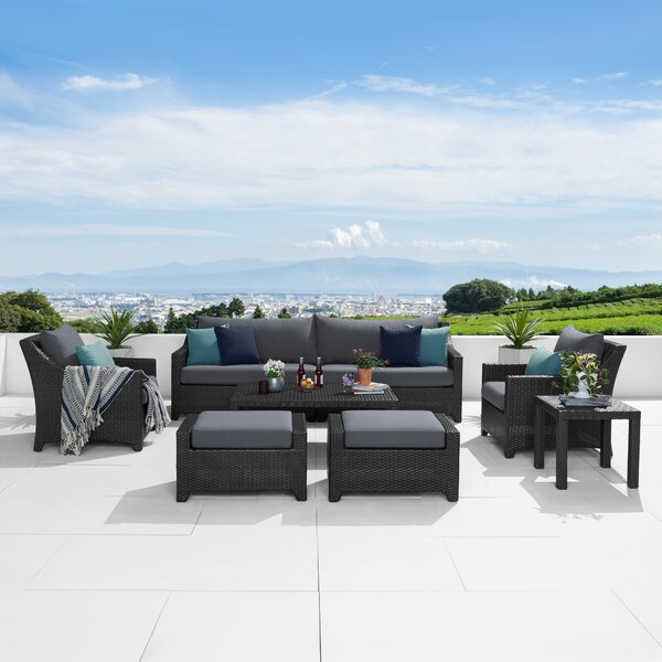 Northridge 8 Piece Sofa Seating Group with Sunbrella Cushions by Three Posts