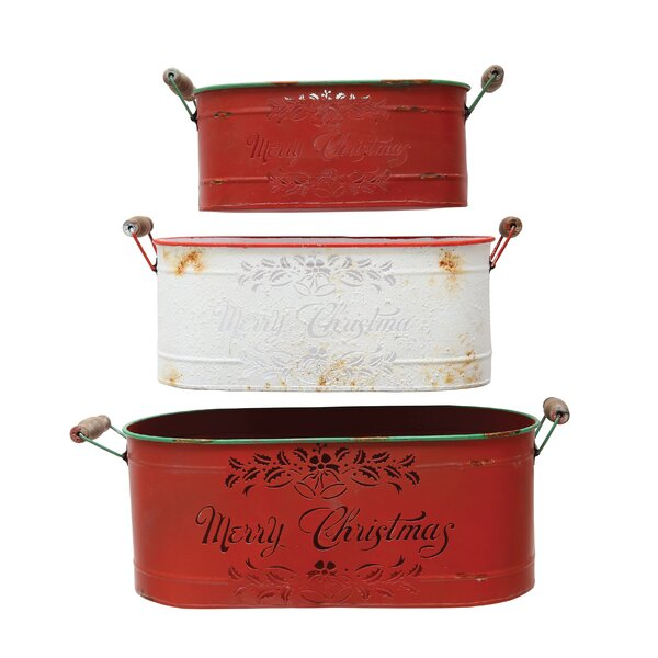 Costello Merry 3-Piece Tin Planter Set by The Holiday Aisle