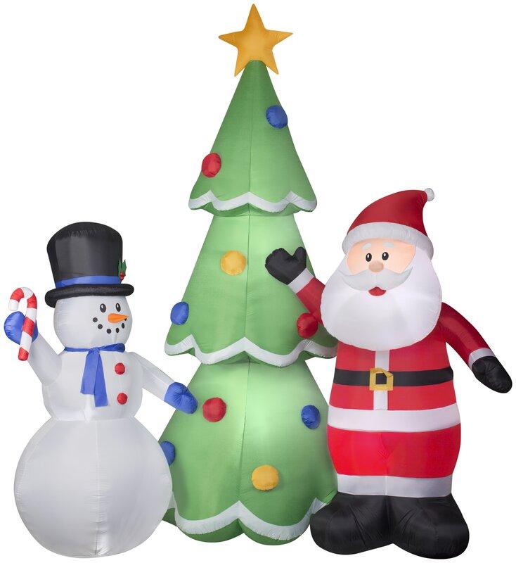 airblown santa and snowman tree scene colossal inflatable - Santa And Snowman