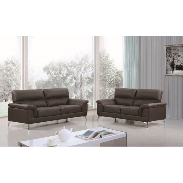 Eldred Leather 2 Piece Living Room Set by Wade Logan