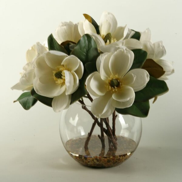 Cream Magnolias in Clear Glass Bubble Bowl by D & W Silks