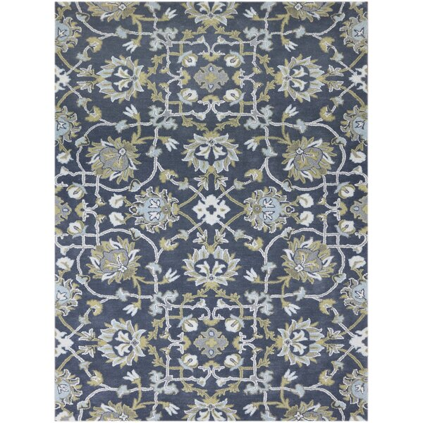 Bessie Hand-Tufted Wool Gray/Blue Area Rug by Charlton Home