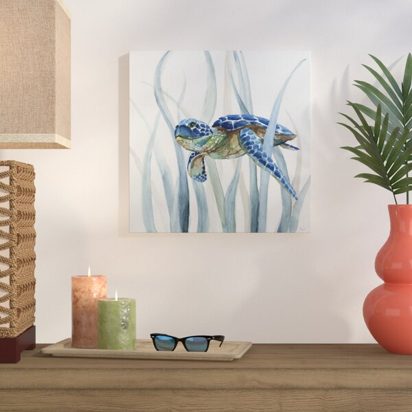 Turtle In Seagrass Ii Oil Painting Print On Wrapped Canvas By Bay Isle Home.