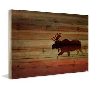 'Moosehead' by Parvez Taj Painting Print on Natural Pine Wood by Parvez Taj