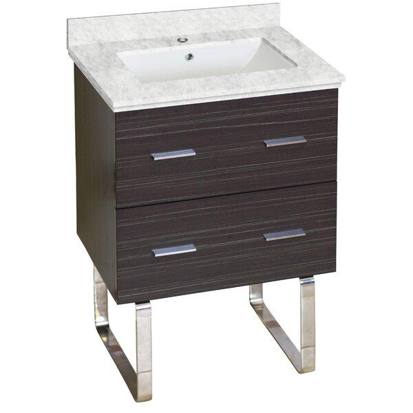 Phoebe Marble Top Drilling Floor Mount 24 Single Bathroom Vanity Set by Orren Ellis