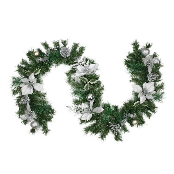 Pre-Decorated Poinsettia, Pine Cone and Ball Artificial Christmas Garland by Northlight Seasonal