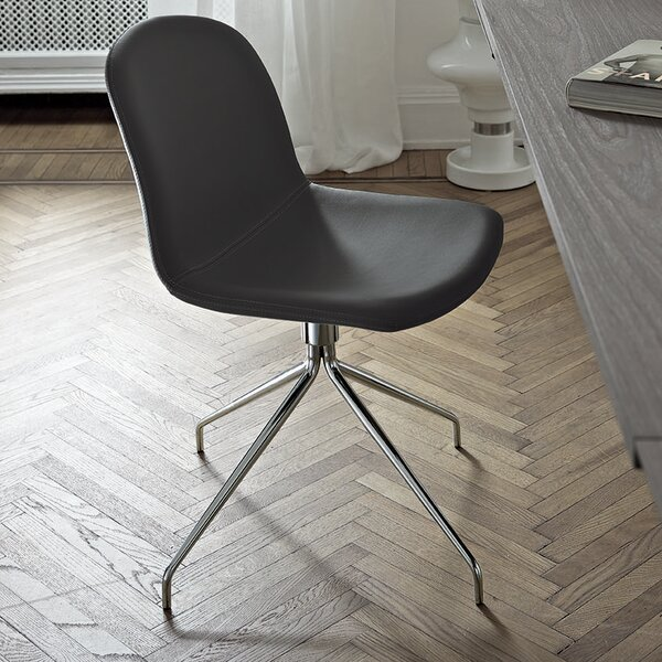 Genuine Leather Upholstered Dining Chair by Bontempi Casa