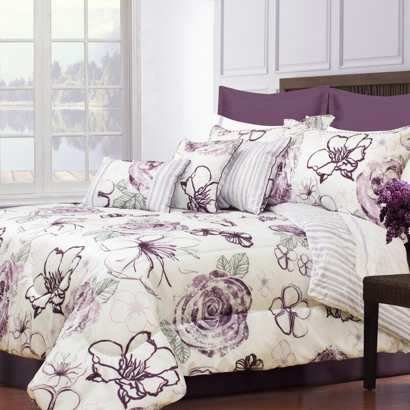 Purple, Gray and White Floral Bedding Set