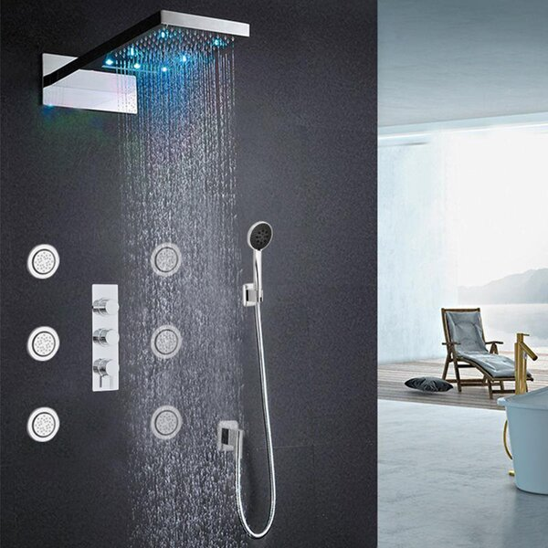Warsaw Waterfall And Rainfall Thermostatic Complete Shower System With Rough-in Valve By FontanaShowers