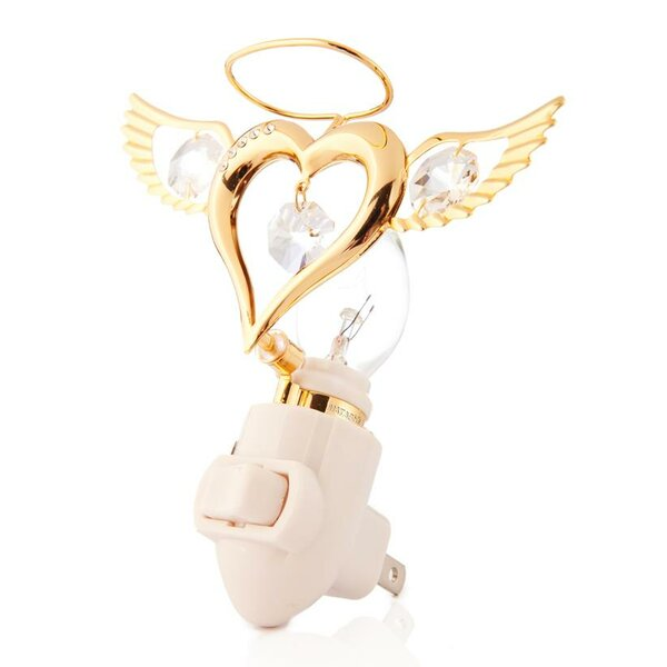 Valentine Gift 24K Gold Plated Angel Heart Night Light by Matashi Crystal