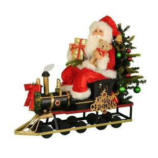 lighted merry christmas train santa figurine