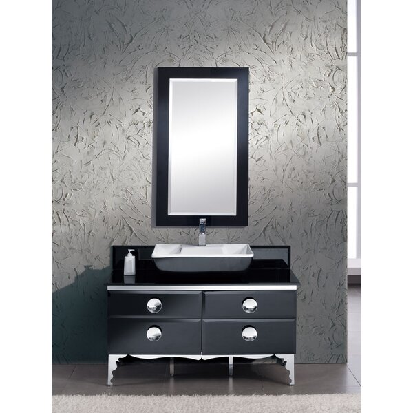 Moselle 47 Single Modern Glass Bathroom Vanity Set with Mirror by Fresca