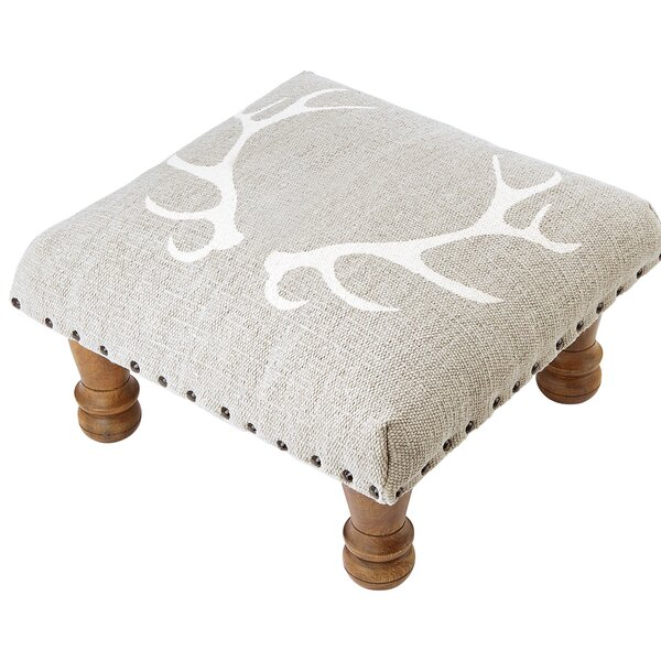 Woven Cotton Upholstered Tufted Ottoman by Mud Pie™