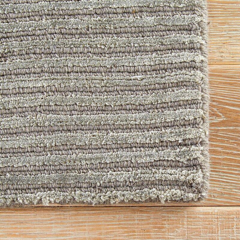 Wool Silk Light Gray Area Rug