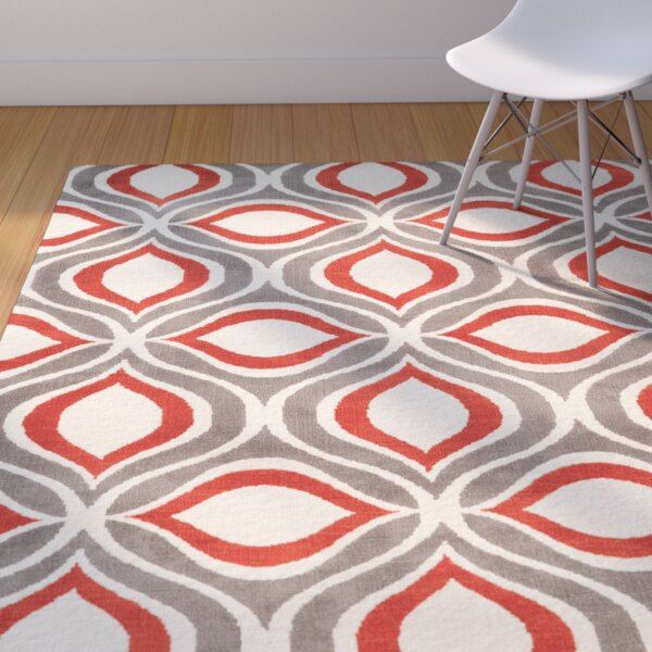 Patricio Hand-Tufted Beige/Gray/Red Area Rug by Wrought Studio
