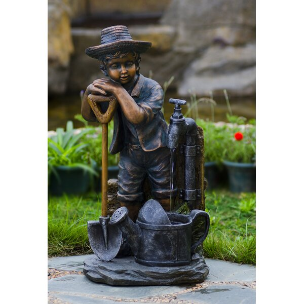 Resin/Fiberglass Boy with Bib Tap Water Fountain by Jeco Inc.