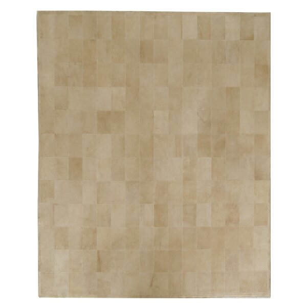 One-of-a-Kind Suede Hand-Woven Beige Area Rug by Exquisite Rugs