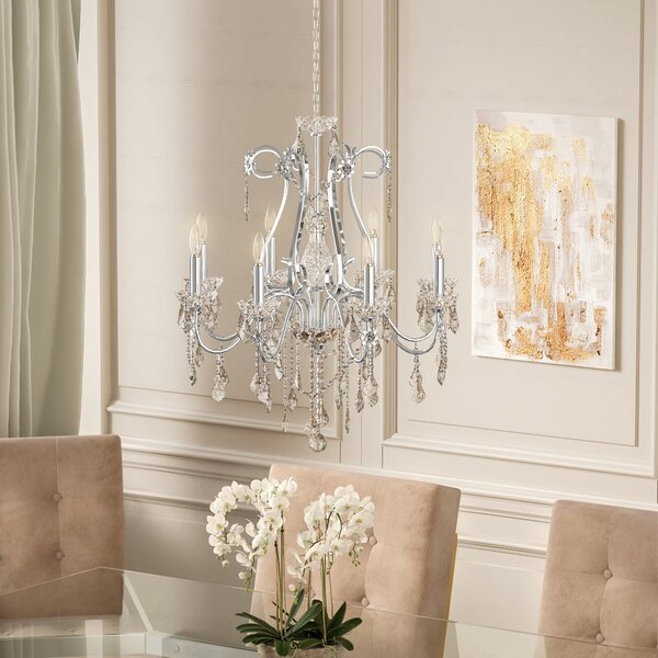 Thao 8 - Light Candle Style Classic / Traditional Chandelier with Crystal Accents by Rosdorf Park Rosdorf Park