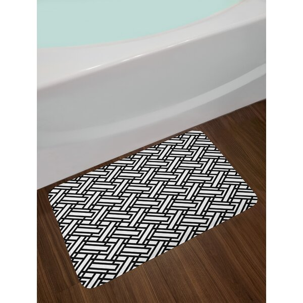 Monochrome Interlocking Black and White Bath Rug by East Urban Home