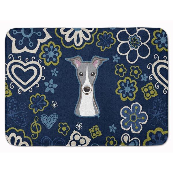 Italian Greyhound Rectangle Microfiber Non-Slip Floral Bath Rug
