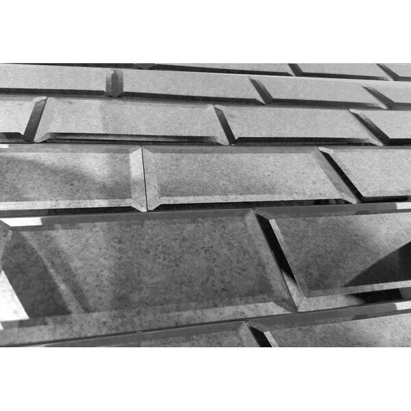 Echo 3 x 6 Mirror Glass Subway Tile in Silver by Abolos
