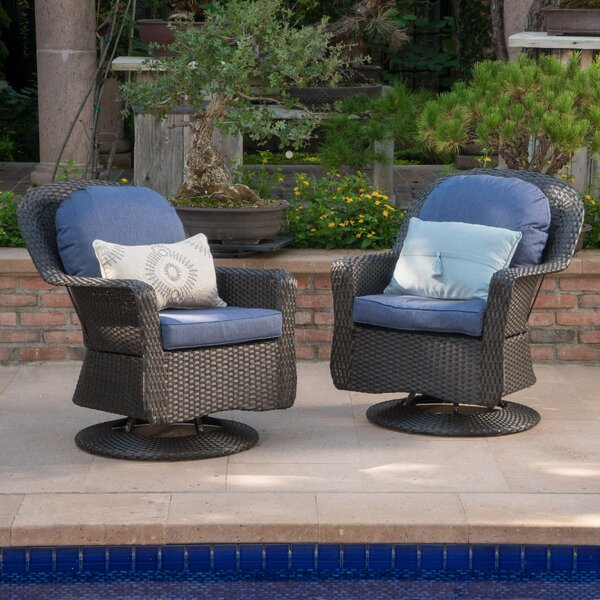 Modern Outdoor Wicker Swivel Club Patio Chair with Cushions (Set of 2) by Birch Lane™
