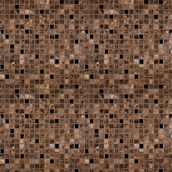 Emperador 0.625 x 0.625 Glass Mosaic Tile in Dark Blend by MSI