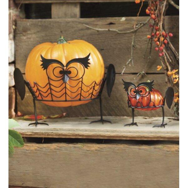 2 Piece Owl Pumpkin Holders Set by Plow & Hearth