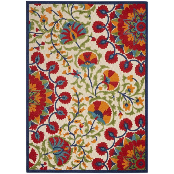 Mariners Ivory/Bright Red/Green Indoor/Outdoor Area Rug by Charlton Home