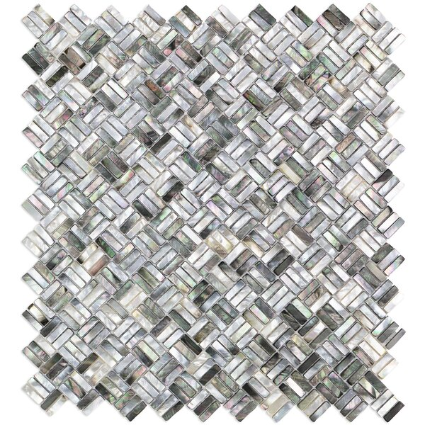 Coule Random Sized Glass Pearl Shell Mosaic Tile in Polished Black/Gray/Pearl by Splashback Tile