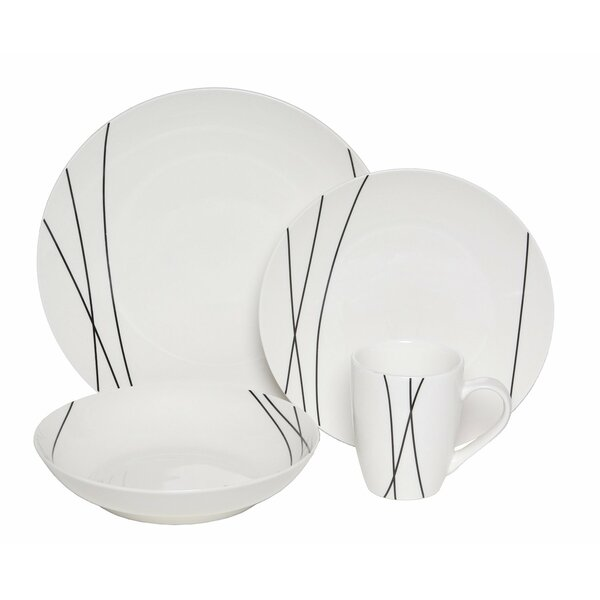Premium Lines 16 Piece Dinnerware Set, Service for 4 by Melange