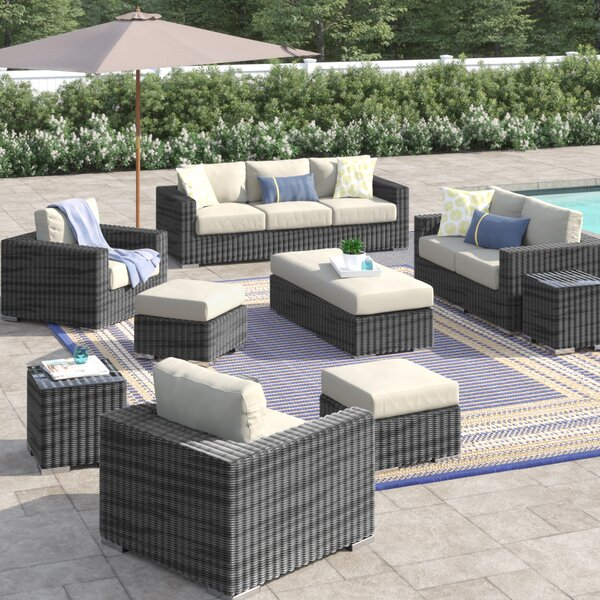 Alaia 9 Piece Rattan Sunbrella Sofa Seating Group with Cushions by Brayden Studio