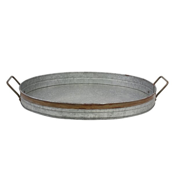 Rustic Oval Metal Tray with Handles /& Feet