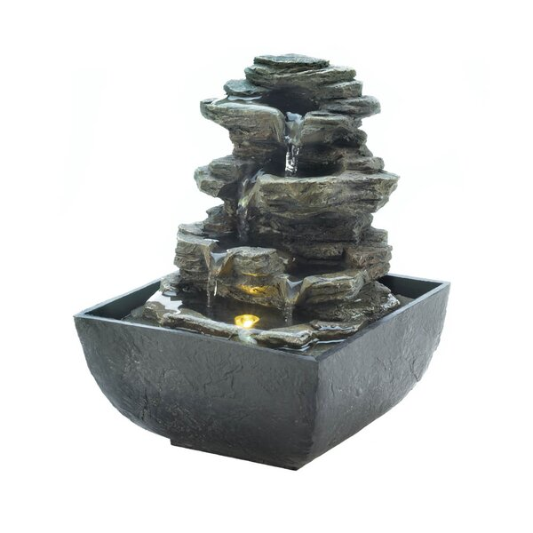 Resin Tiered Rock Tabletop Fountain with Light by Zingz & Thingz