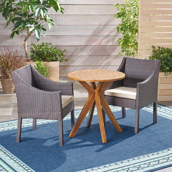Bolesworth Outdoor 3 Piece Bistro Set with Cushions by Bungalow Rose Bungalow Rose