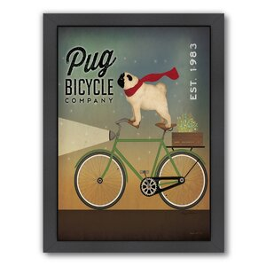'Pug on A Bike' Framed Vintage Advertisement by East Urban Home