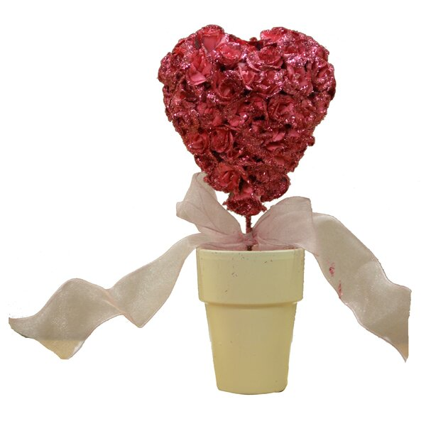 Glittery Rose Heart Topiary by The Holiday Aisle