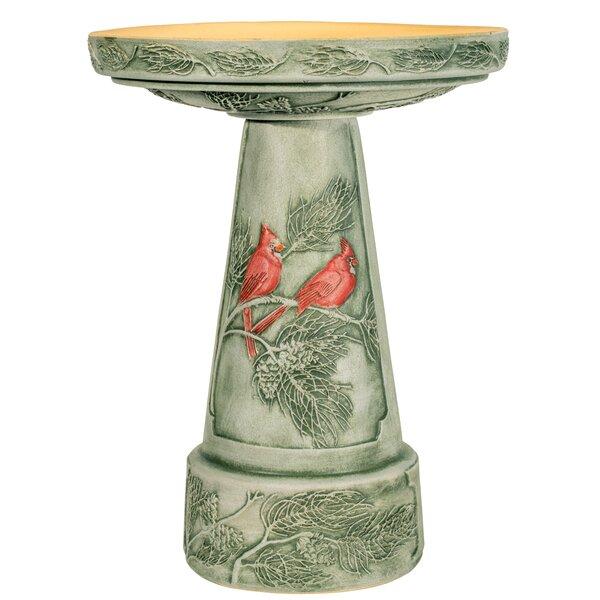 Cardinal Birdbath with Pedestal by Burley Clay