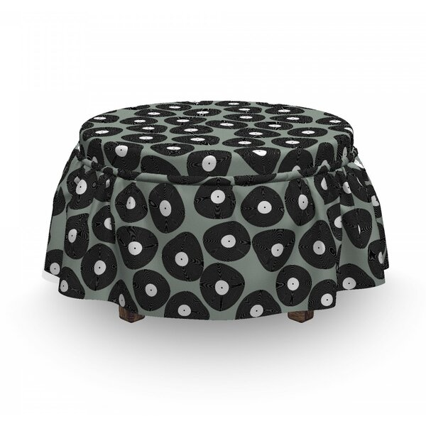 Old Vinyl Disc D Motifs Ottoman Slipcover (Set Of 2) By East Urban Home