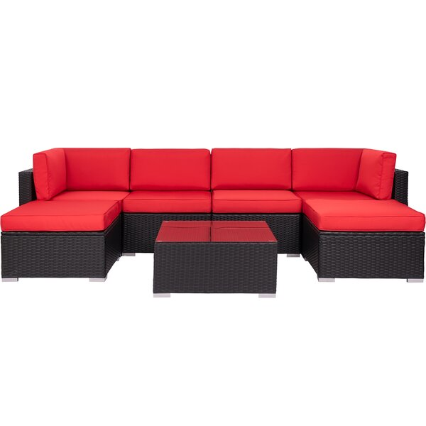 Knockout 7 Piece Rattan Sectional Seating Group with Cushions by Latitude Run