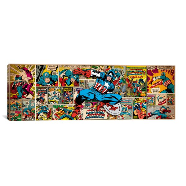 Marvel Comics Captain America on Captain America Cover and Panel Panoramic Graphic Art on Wrapped Canvas by iCanvas